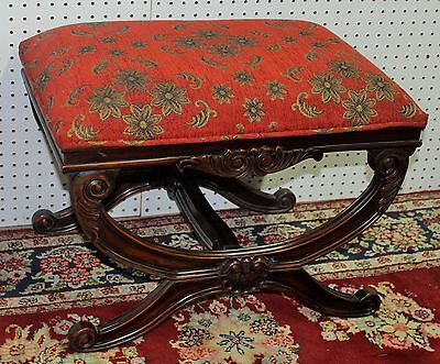 American Antique Style Country French Finely Carved Chair Bench Vanity Stool