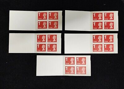 5 books of 4 x 1st class large letter stamps Royal Mail Self adhesive (New)