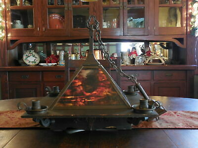Estate Arts & Crafts Original Large Oak and Red Slag Glass Ceiling Light Fixture