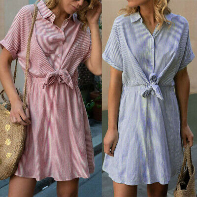 Ladies Above Knee Striped Turndown Collar Knotted Dress Office Short Sleeve