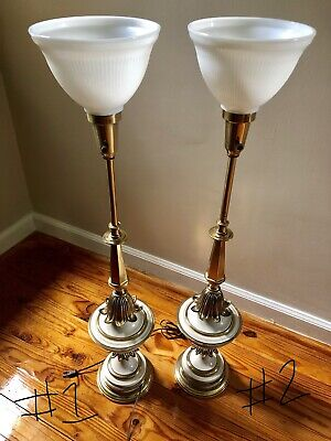 Pair VTG STIFFEL Very Tall / Heavy Mid-Century Torchiere Table Lamps RARE DESIGN
