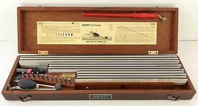 Vintage K E Keuffel & Esser Leroy Lettering Set  Wood Case Drafting Templates To