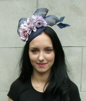 Navy Blue Lilac Purple Flower Feather Hat Fascinator Races Hair Floral Rose 7293