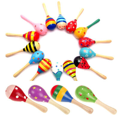 Baby Kids Sound Music Gift Toddler Rattle Musical Wooden Colorful Toys H1
