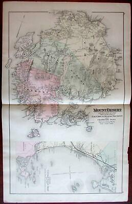 Mount Desert Boothbay Harbor Casco Bay Peaks Isl. Maine 1888 Colby detailed map