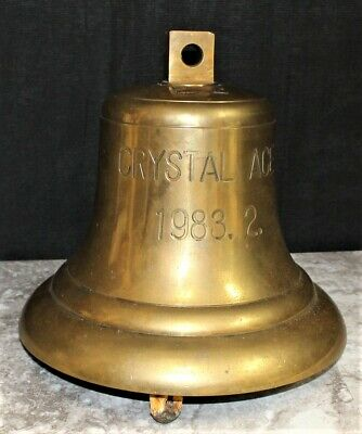 "Large Marine Vessel ""CRYSTAL ACE"" Maritime Nautical Brass Shipwreck Bell, Marked"