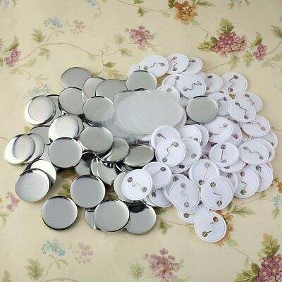 """100 Sets 32mm/1.26"""" Round Pin Badge Button Parts Supplies for Button Maker Badge"""