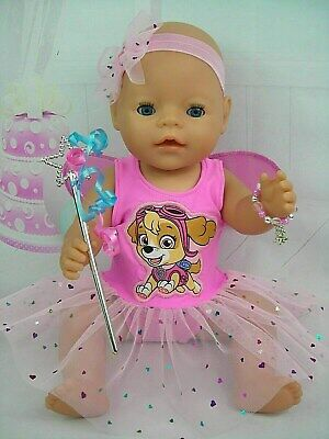 "Dolls clothes for 17"" Baby Born doll~PAW PATROL~SKYE PINK FAIRY DRESS SET"