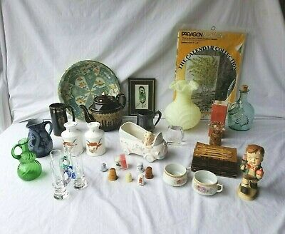 LARGE OLD JUNK DRAWER LOT Smalls Estate Collectibles Resale Fenton MCM Craft ++