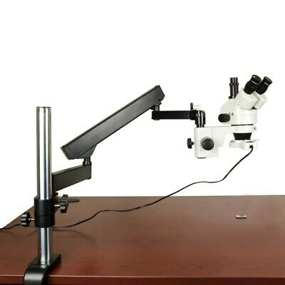 7-45X Stereo Microscope+Articulating Arm Stand+Bright 8W Fluorescent Ring Light