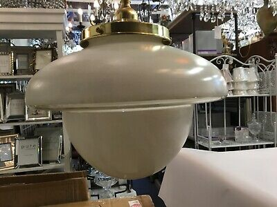 Original Large Art Deco Shade Glass Retro Lamp Light Diana White Saucer Step