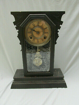 Antique Ansonia Black Mantle Clock Works As Found