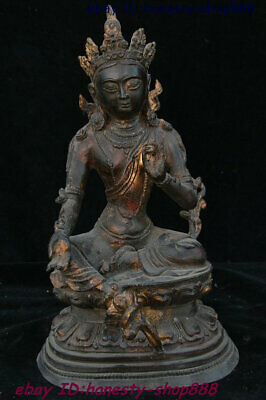 Tibet Buddhism Antique Bronze Mahayana Enlightenment Green Tara Goddess Statue