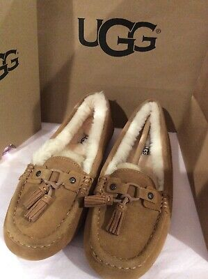 965e661e0f4 UGG LITNEY SUEDE Shearling Chestnut Fully Lined Slippers Size 7 Us ...