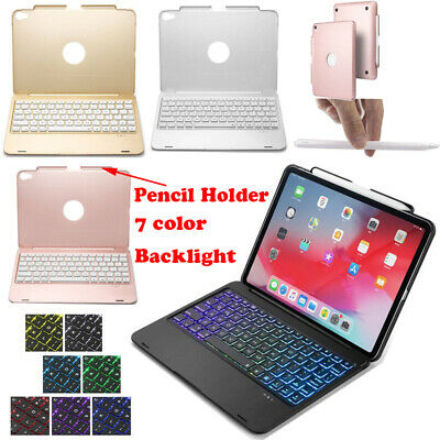 Wireless Bluetooth Keyboard Case Cover w/ Pencil Holder For iPad Pro 11 inch