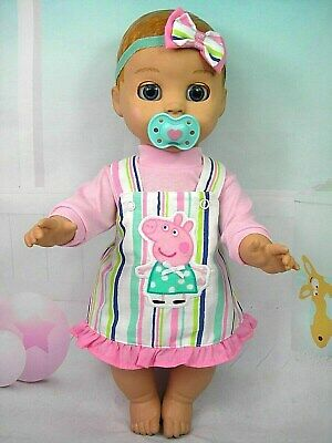 Dolls clothes for LUVABELLA DOLL~PEPPA PIG STRIPED PINAFORE~PINK TOP~HAIR BOW