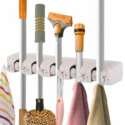 Heavy Duty Wall Mounted 5 Rack Position With 6 Hook Broom & Mop Holder Organizer
