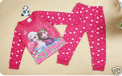 Frozen PJ'S Pyjamas Pink  Girls set Kids  Elsa Anna UK SELLER christmas