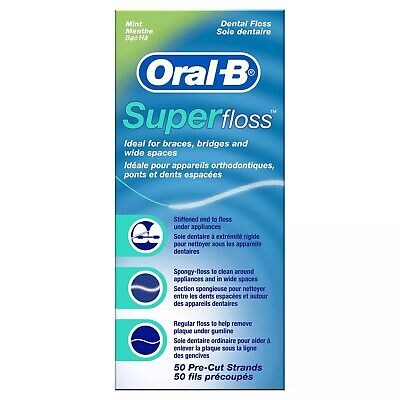 New Oral-B Super Floss Pre-Cut Strands Dental Floss Mint 50 Count