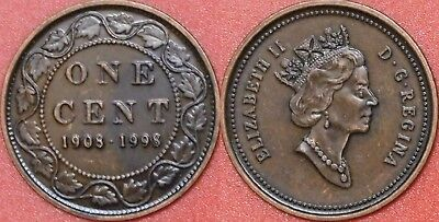 Antique Proof 1908-1998 Canada Silver Large 1 Cent From Mint's Set