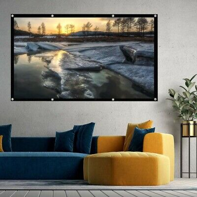 """120"""" Inch Projector Projection Screen 16:9 White Matte 3D HD Home Cinema Theater"""