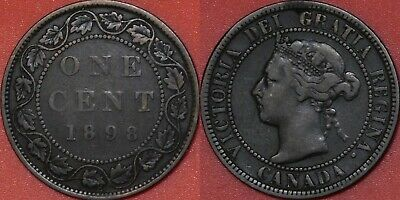 Fine 1898H Canada Large 1 Cent