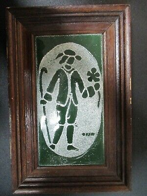 Rare Vintage Artist Hand Made Framed Ceramic Picture By Manor 1979