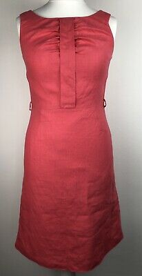 Laura Ashley Linen Coral Pink Shift Dress Size 12 Lined Salmon Summer Holiday