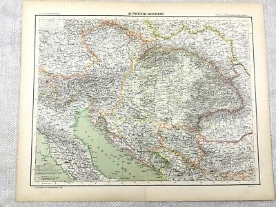 1894 Antique Map of Austria Hungary Austro Hungarian Empire 19th Century French