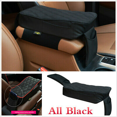 New Black Car Armrest Box Mats PU Leather Console Pad Memory Foam Cushion W/Bag