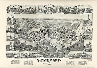 "18"" x 24"" 1888 Map of Wickford, Rhode Island"