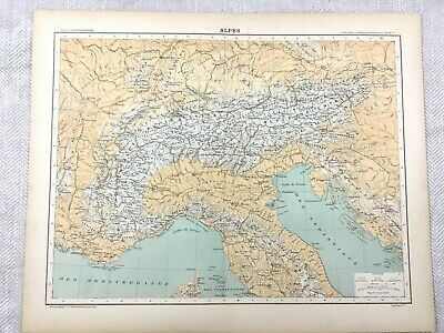 1894 Antique Map of The Alps Swiss Italian Old Original 19th Century French