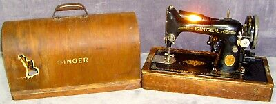 Vintage Oct. 14, 1936 Electric Singer Sewing Machine with Brentwood Case & Light
