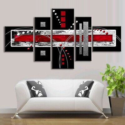 5 PCS Abstract Wall Art Red Black Grey Modern Canvas Print Paintings Home Decora