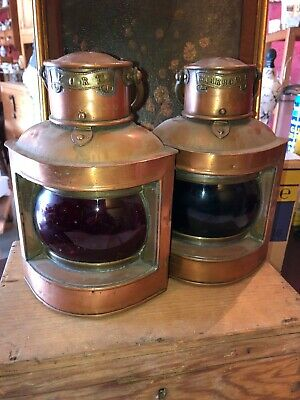 Original Pair Of Port And Starboard Copper Ship/boat Lanterns