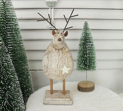Cute Red Metal Reindeer with Gingham Bow Christmas Mantel Window Decoration 7818
