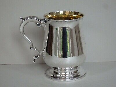 ANTIQUE GEORGE III SILVER 7/8 PINT MUG - LONDON 1785 - HESTER BATEMAN - 336g