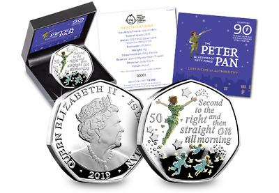 2019 50p PETER PAN Silver Proof Coloured 50p Fifty Pence BU Coin - IN HAND