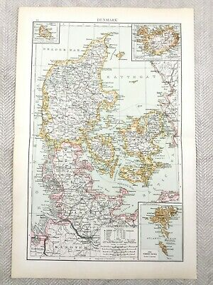 1895 Map of Denmark Faeroe Islands Iceland Old Antique 19th Century Victorian