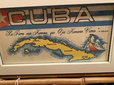 Cuba Map The Most Beautiful Earth Human Eyes Saw Framed banner Flag  8 X 13