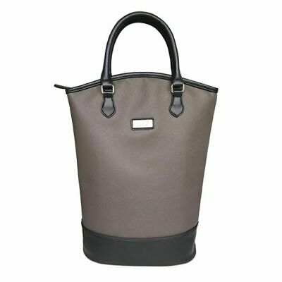 Sachi Insulated Two Bottle Wine Tote  Charcoal Unique Gift Idea NEW Authentic