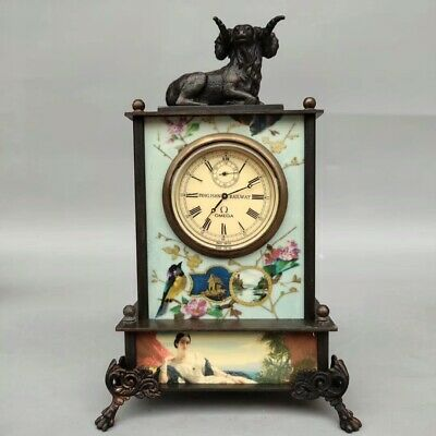 Collect old Chinese pure copper Zodiac sheep Western style mechanical Desk clock