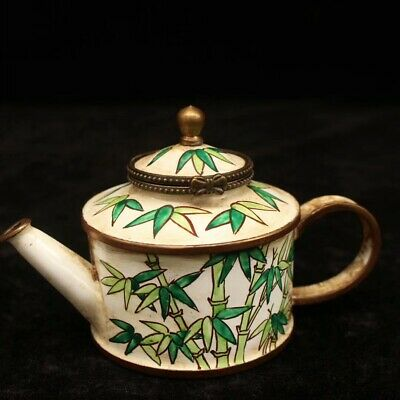 "4.72"" Collection Old Chinese copper Enamel painting bamboo teapot wine pot"