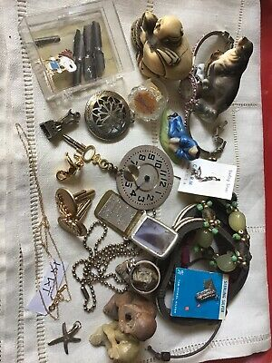 Vintage Junk Drawer Lot  Sterling,14k Chain,Monkey See Monkey Do And More