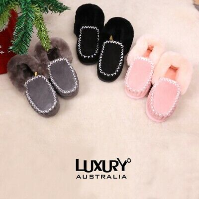 Ugg Moccasins Slippers Premium Australian Sheepskin Lazy Slippers Outdoor Use