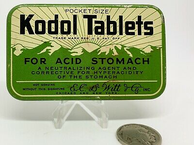 1930s Vintage Kodol Tablets Medicine Tin Advertising Drug Pharmacy Container Can