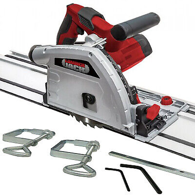Circular Plunge Saw 165mm 240v with 2 Guide Rail Track Clamps & Blade 55mm Cut