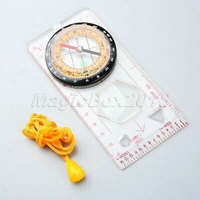 Hunting Hiking Camping Orienteering Scout Map Magnifying Compass Ruler Scale 1PC