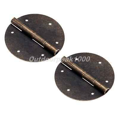 UK STOCK Alloy Chinese Decor Round Cabinet Door Butt Hinge Antique Bronze 2Pcs