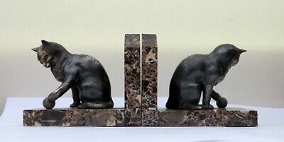Lovely French Period art deco bronze spelter Cat with ball book ends on marble.
